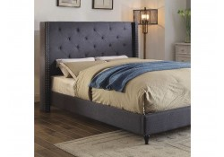 Anabelle Platform Bed Set in Blue Fabric