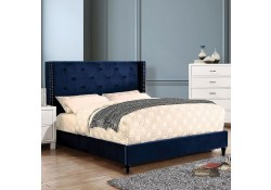 Anabelle Platform Bed Set in Navy Fabric