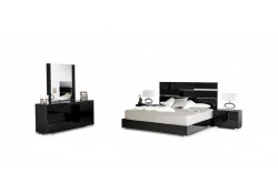 Ancona Modrest Italian Bedroom Set in Black High Gloss