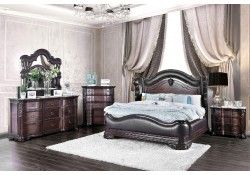 Arcturus Bedroom Set in Brown Cherry Finish and Marble Tops