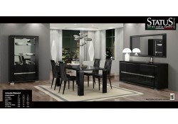 Armonia Diamond Black Lacquered Italian Modern Dining Room Set