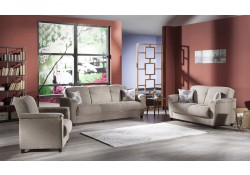 Aspen Living Room Set in Forest Brown Fabric with Sofa Bed
