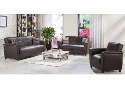 Aspen Living Room Set in Santa Glory Dark Brown Color