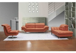 Astro Modern Living Room Set in Pumpkin Leather