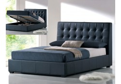 Athens Contemporary Black Storage Leather Bed by AtHome USA