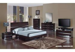 Aurora Wenge Modern Platform Bedroom Set by Global Furniture