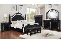 Azha Bedroom Set in Black with Poster Bed