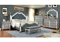 Azha Bedroom Set in Silver and Gray with Poster Bed