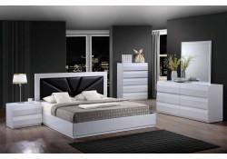 Bailey Modern White Bedroom Set Black Headboard