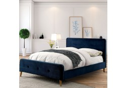 Barney Platform Bed Set in Navy Fabric
