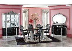 Barocco Black Wood Italian 7 Piece Dining Set by Camelgroup Italy