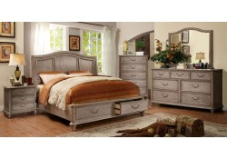 Belgrade I Bedroom Set in Rustic Natural Tone with Storage Bed