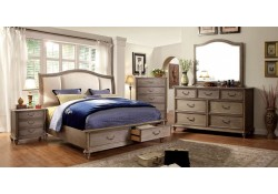 Belgrade I Bedroom Set in Rustic Natural Tone and Ivory