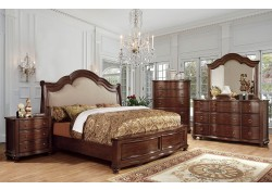 Bellavista Traditional Bedroom Set in Brown Cherry