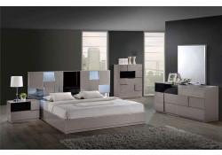 Bianca Modern Bedroom Set in Taupe Finish Global Furniture
