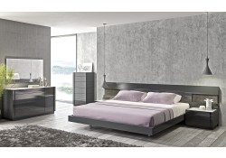Braga Grey Lacquer Finish Modern Bedroom Set