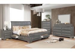 Brandt Bedroom Set in Gray with Storage Bed