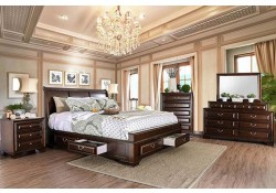 Brandt Bedroom Set in Brown Cherry with Storage Bed