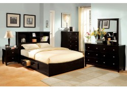 Brooklyn Bedroom Set in Espresso with Storage Rails
