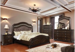 Calliope Bedroom Set in Espresso and Tufted Headboard