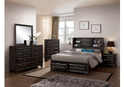 Carlynn Traditional Bedroom Set in Gray with Storage Bed