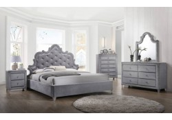 Sophie Bedroom Set in Grey Velvet by Meridian Furniture