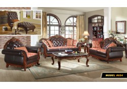 Cherry Wood Trim Black Leather Living Room Set 654