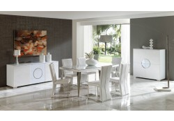 Coco White Leather Upholstered Dining Set by Dupen Spain