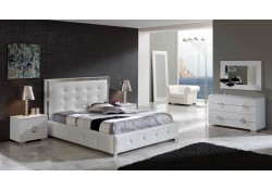 Coco White Leather Storage Bed Queen or King Bedroom Set - Dupen Spain