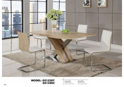D2122DT Natural Wood Chromed Modern Dining Room Set