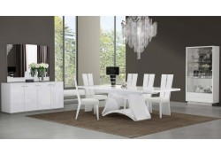 D313 Modern Dining Room Set in White Lacquer Finish