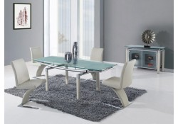 D88DT Dining Room Set with Glass Table Beige Z Chairs