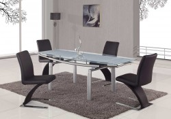 D88DT Dining Room Set with Glass Table Black Z Chairs