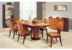 D92 Large Pedestal Table Brown Lacquered Formal Dining Room Set