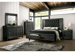 Demtria Bedroom Set in Gray with Storage Bed