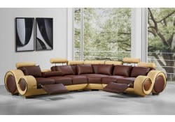 Divani Casa 4087 Sectional Sofa in Brown and Beige Leather