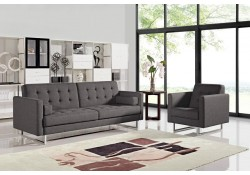 Divani Casa Bauxite Modern Sofa Bed in Grey Fabric
