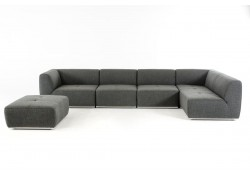 Divani Casa Hawthorn Sectional Sofa in Grey Fabric