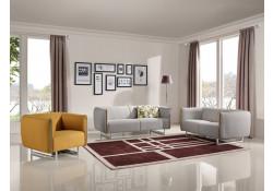 Divani Casa Medora Sofa Set in Grey and Yellow Fabric