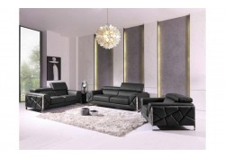 Divanitalia 903 Living Room Set in Black Leather