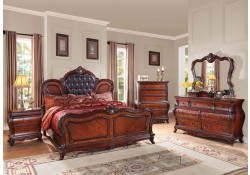 Marble Tops Traditional Dorothea Bedroom Set in Cherry