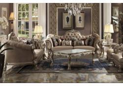 Dresden Living Room Set in Velvet and Gold Patina