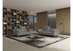 Eden Italian Living Room Set in Grey Italian Leather