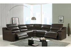 Elda Brown Leather Reclining Sectional Sofa by At Home USA