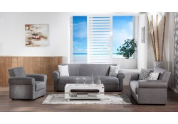 Elita Sofa Bed Living Room Set in Diego Grey