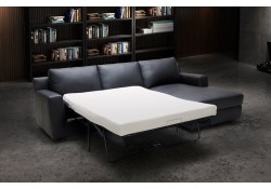 Elizabeth Sofa Bed Sectional in Black Italian Leather
