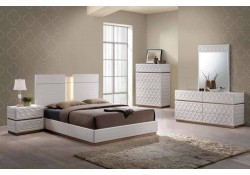 Emma Modern Bedroom Set in White Finish and LED Lights