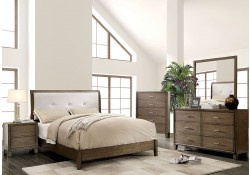 Enrico I Bedroom Set in Gray Finish and White Headboard