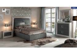 Enzo Bedroom Set in Grey Finish with Storage Bed