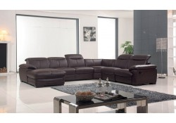 ESF 2146 Reclining Sectional Sofa in Brown Leather
